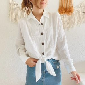 Free People Gauze Tie Front Button Top